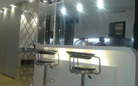 bar unit with open kitchen
